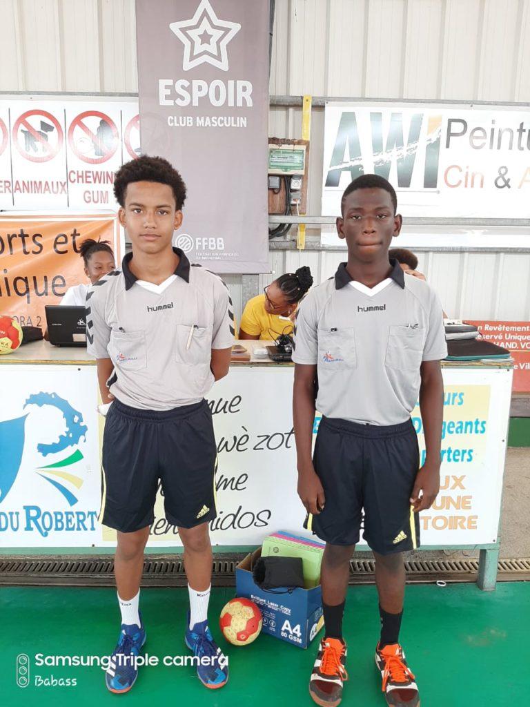 Jeunes Arbitres : Lavanne et Romain du Sporting Club Lamentinois.